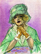 Fashion Plates Prints - Green Hat Print by Mel Thompson