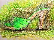 Shoe Pastels Prints - Green Heel Print by Scott Easom