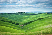 Field. Cloud Prints - Green Hills With Cloudy Sky Print by Thierry Hennet