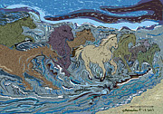 Green Horse Wave Print by Susie Morrison