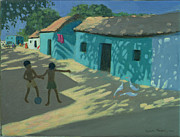 Children Playing Paintings - Green House by Andrew Macara