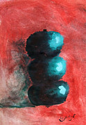 Mendyz Originals - Green Impressionist Apples Stacked on Abstracted Red Background Still Life of Kitchen Food Dessert by M Zimmerman MendyZ