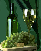 Wine Illustrations Digital Art Prints - Green is White Print by Elaine Plesser