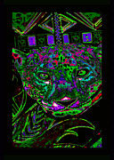 Shamanic Mixed Media Prints - Green Jaguar Print by Susanne Still