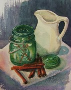Pitchers Painting Metal Prints - Green Jar Metal Print by Marilyn Smith