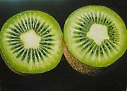 Kiwi Painting Prints - Green kiwi oil painting  Print by Natalja Picugina