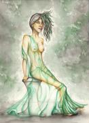 Men And Women Painting Prints - Green Lady  Print by Karen Musick