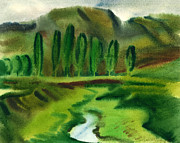 Vasile Framed Prints - Green Landscape Framed Print by Vasile Movileanu