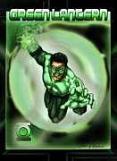 Super Heroes Framed Prints - Green Lantern  Framed Print by Illie Dawson III