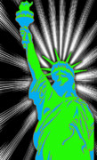 America Mixed Media - Green Liberty by Rosalyn Stevenson