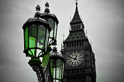City Photography Digital Art Prints - Green Light for Big Ben Print by Donald Davis