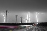 Lightning Images Prints - Green Light Into the Storm Print by James Bo Insogna