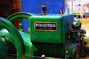 Machinery Digital Art Posters - Green Machine Poster by RC DeWinter