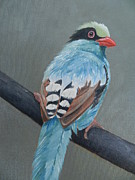 Magpie Paintings - Green Magpie by Catherine Myers