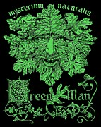 Illustrated Letter Prints - Green Man Print by Fremont Thompson