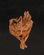 Olive Wood Sculpture Posters - Green Man in the stars Poster by Eric Kempson