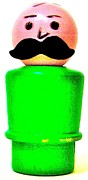Ricky Sencion Prints - Green Man Mustache Print by Ricky Sencion