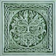Celtic Ceramics - Green man tile by Shannon Gresham