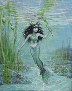 Kelp Paintings - Green mermaid harvesting by Maria Elena Gonzalez