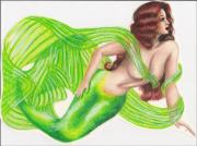 Prismacolor Colored Pencil Drawings Prints - Green Mermaid Print by Scarlett Royal