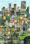 Urban Art Mixed Media Framed Prints - Green Metropolis  Framed Print by Andy  Mercer