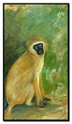 Barbara Marcus Painting Framed Prints - Green Monkey Framed Print by Barbara Marcus