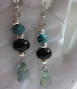 Abstract Jewelry - Green Moon Dangle Earrings by Janet  Telander