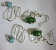 Silver Turquoise Jewelry - Green Moon Whirlygigs Earrings by Janet  Telander