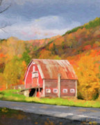 Red Barn. New England Digital Art Prints - Green Mountains Barn Print by Betty LaRue