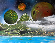 Outer Space Painting Posters - Green Mt.  4686 Poster by Greg Moores