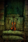 Violin Prints - Green Music Print by Emily Stauring