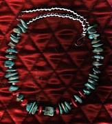 Red Jewelry - Green Nevada Turquoise And Coral Choker by White Buffalo