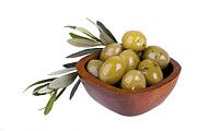 Health Food Posters - Green olives Poster by Jane Rix