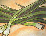 Salad Painting Framed Prints - Green Onions Framed Print by Sandy Tracey