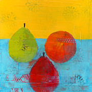 Fruit Still Life Mixed Media Posters - Green Orange Red Poster by Laurie Breen