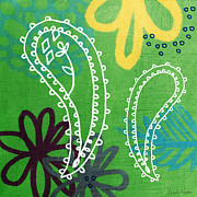 India Mixed Media Posters - Green Paisley Garden Poster by Linda Woods
