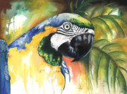 Color Green Mixed Media Posters - Green Parrot Poster by Anthony Burks