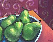 Green Bowl Framed Prints - Green Pears in a Bowl Framed Print by Sarah Crumpler