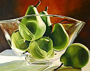 Bowls Framed Prints - Green Pears in Glass Bowl Framed Print by Toni Grote