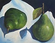 Pie Paintings - Green Pears on Linen - 2007 by Torrie Smiley