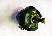Pepper Paintings - Green Pepper green 6 by Peter Lau