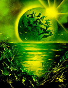 Spray Paint Art Paintings - Green Planet 4669 E by Greg Moores