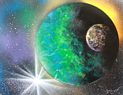 Outer Space Painting Posters - Green Planet 4672 Poster by Greg Moores