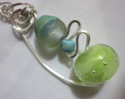 Science Fiction Jewelry - Green Planets Align Necklace by Janet  Telander