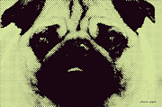 Pug Digital Art Posters - Green Pug Poster by Jayne Logan