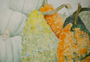 Gourds Paintings - Green Pumpkins and Bumpy Gourds by Sue Ann Glenn