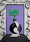 Black Tie Paintings - Green Rectangle Flower In Bow Tie Vase by Jon Weiser