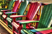 Orange Digital Art Originals - Green Red Green Red Green chair by Michael Thomas