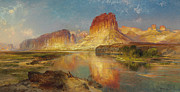 Orange Sky Posters - Green River of Wyoming Poster by Thomas Moran