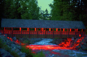 Architecture Digital Art Originals - Green River Runoff and Covered Bridge by Frank Feliciano